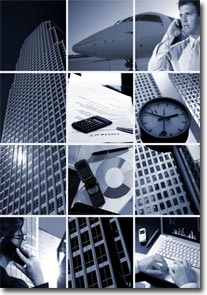 Conceptual image-grid of business photos: 'Time is Money' photo